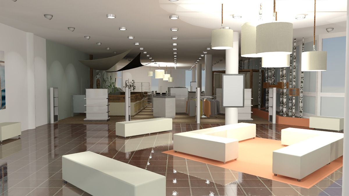Ladenbau Heidespa GmbH Bad Düben Eingangsbereich mit weißen Sitzobjekten und Spots